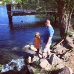 With Daddy at the lake.